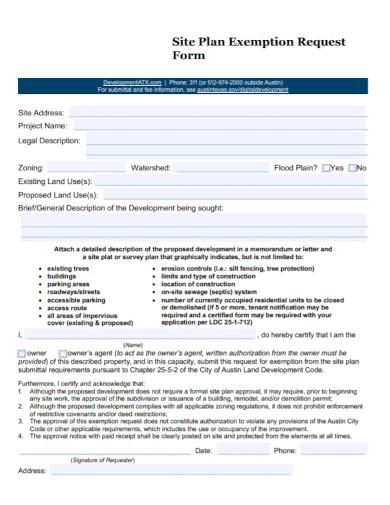 site plan exemption request form