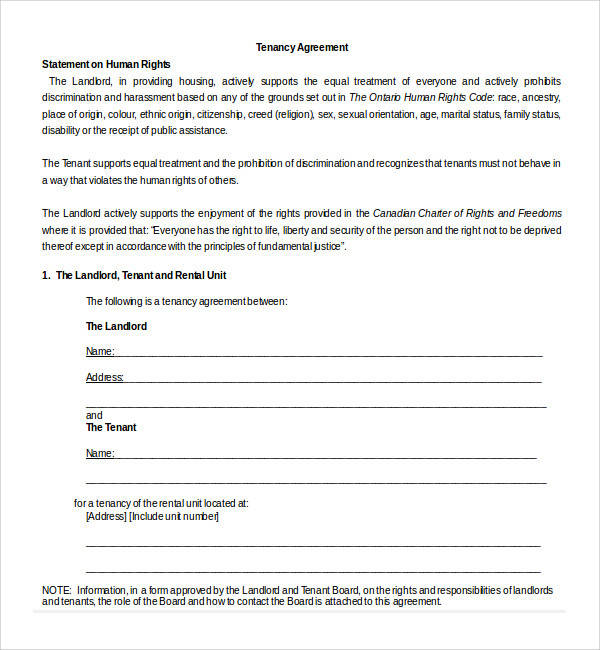 Sample Tenancy Agreement Template 18 Free Documents In