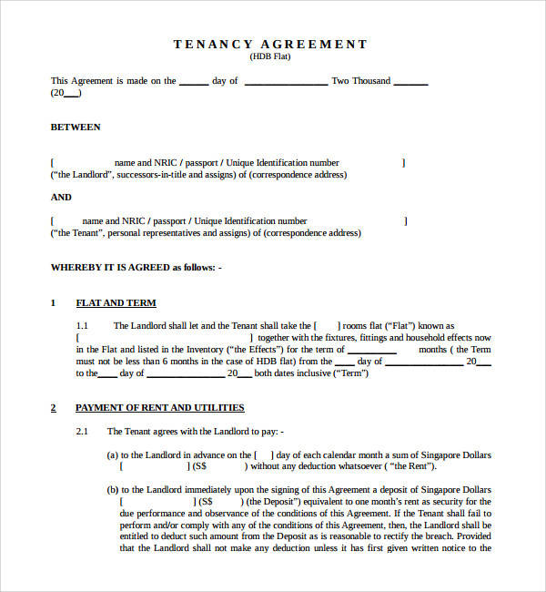 Sample Tenancy Agreement Template   Free Documents In Pdf Word