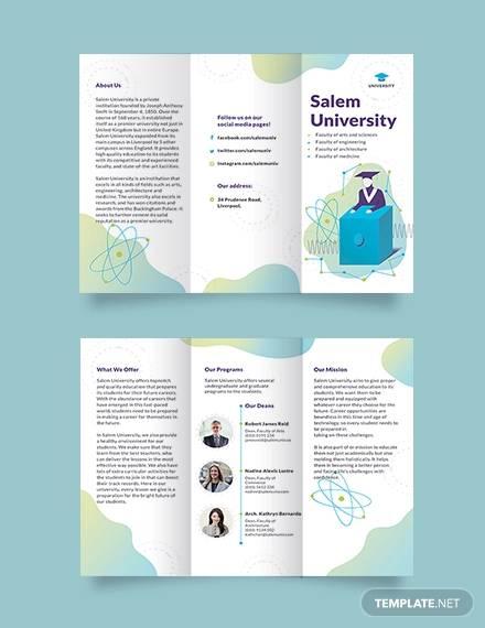 university tri fold brochure template