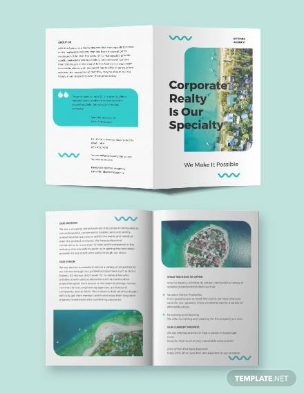 vacation rental advertising bi fold brochure template