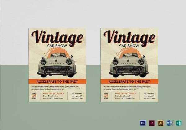 vintage car show flyer template1
