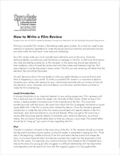 write a film review template