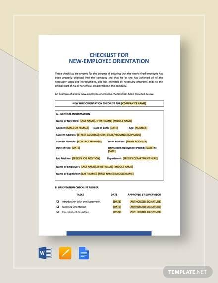 checklist new employee orientation