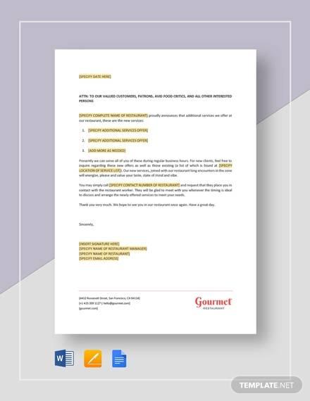 letter announcing new restaurant service