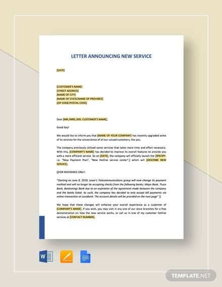 letter announcing new service