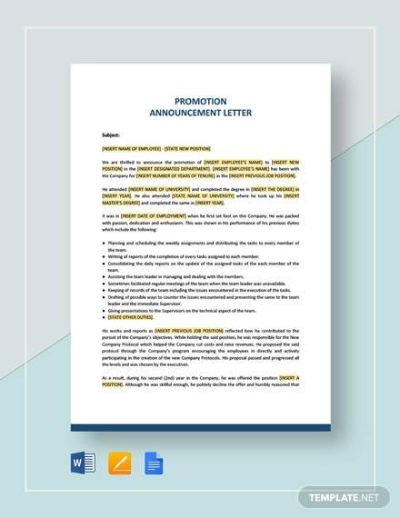 sample announcement letter template