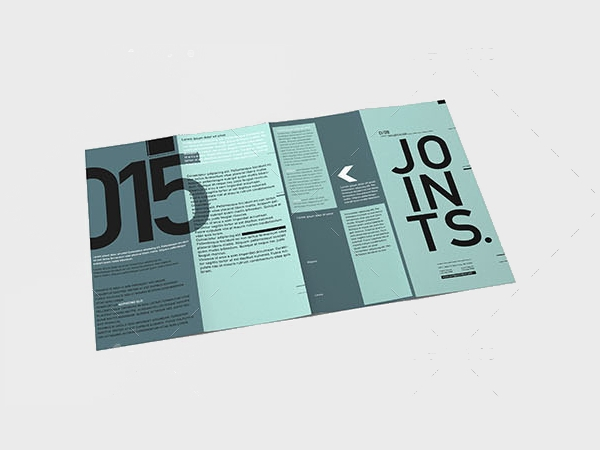 gate fold roll brochure mockup
