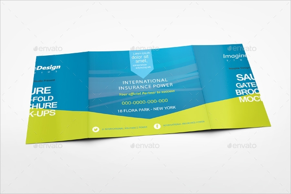 attractive square gate fold brochure mockup