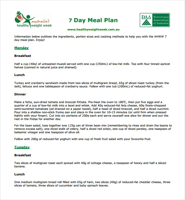 sample diet plan template 9 free documents in pdf word
