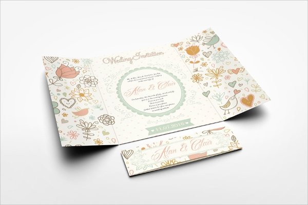 gate fold brochure mockup for wedding