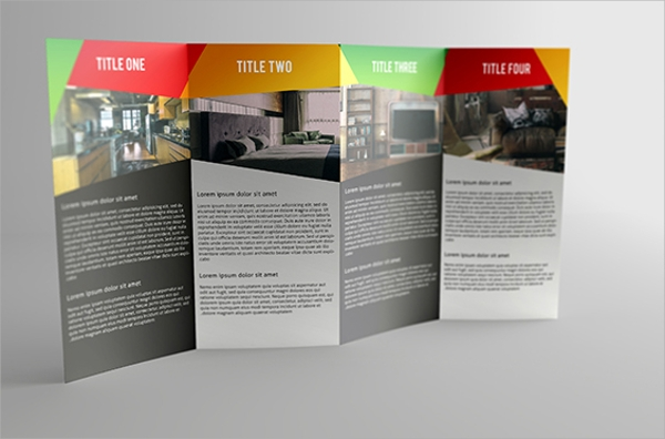 four panels gate fold brochure mock up