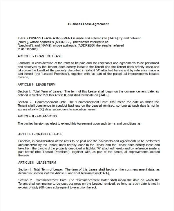 Sample Lease Agreement   Free Documents Download In Word Pdf