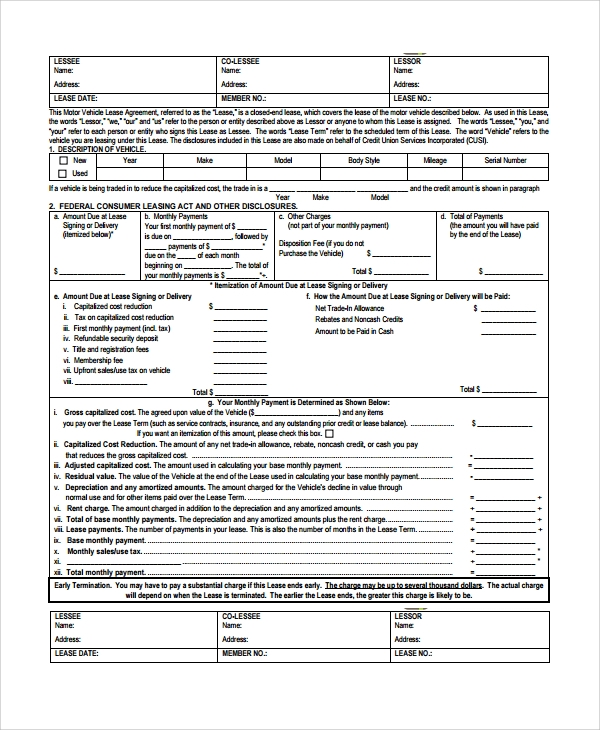 vehicle sublease agreement template - 24 lease agreements sample templates