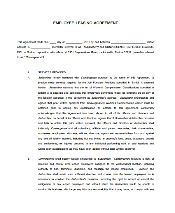 Employee Lease Agreement
