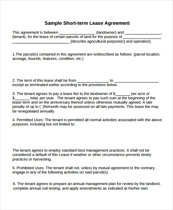 Short-Term Lease Agreement