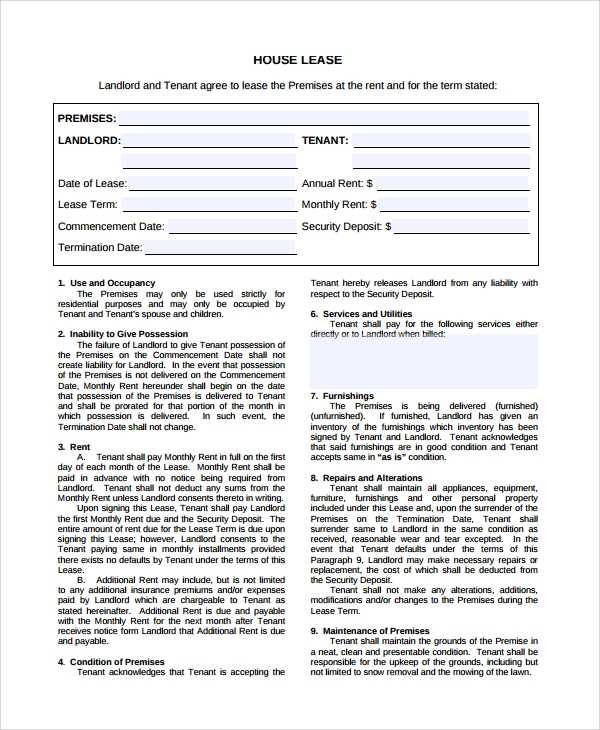 House lease Agreement