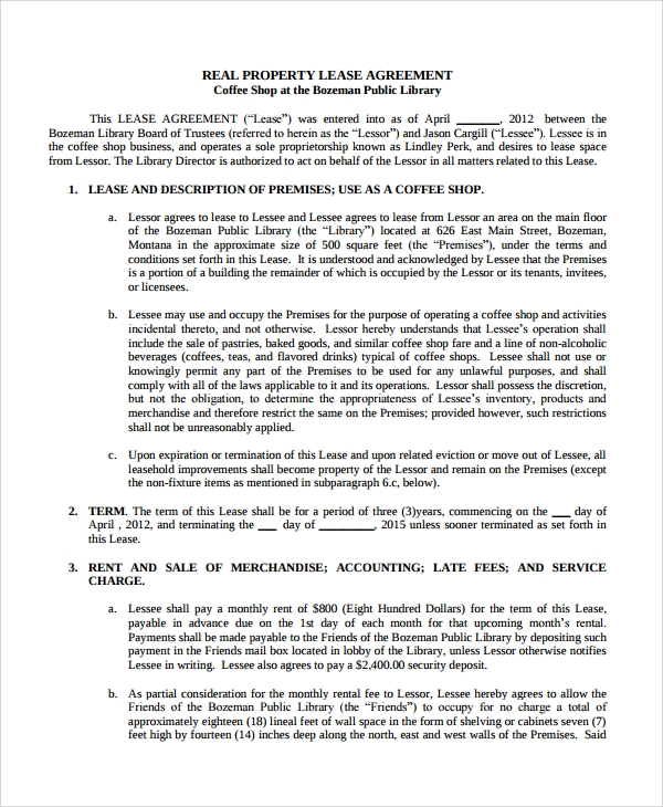 Shop Lease Agreement