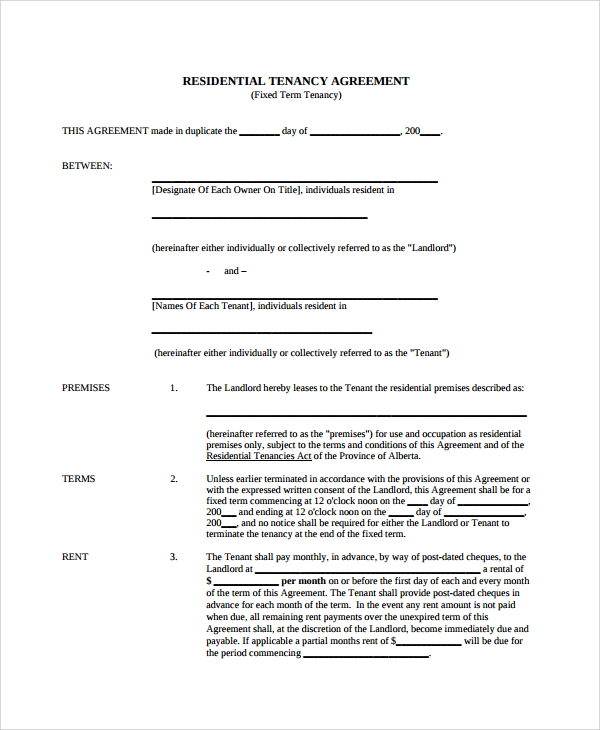 Tenant Lease Agreement | Sample Lease Agreement 23 Free Documents Download In Word Pdf