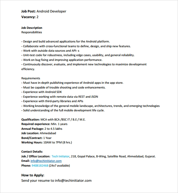 sample android developer resume