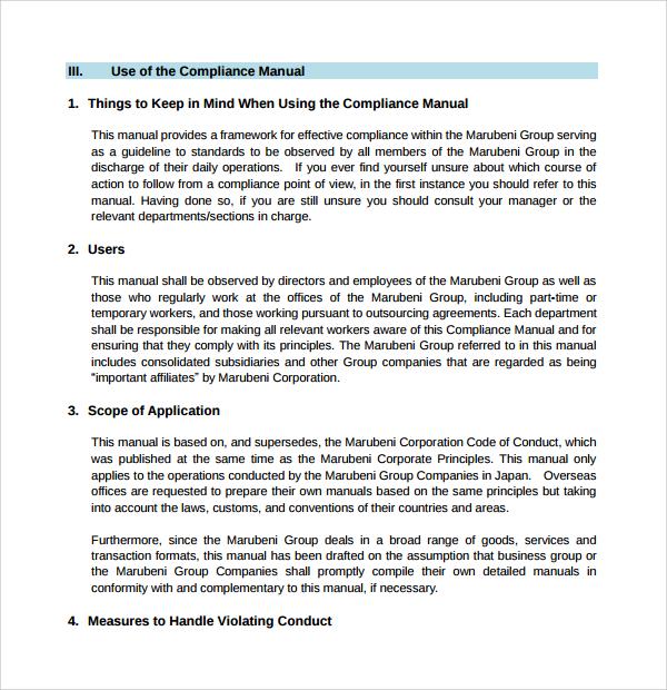 simple compliance manual template