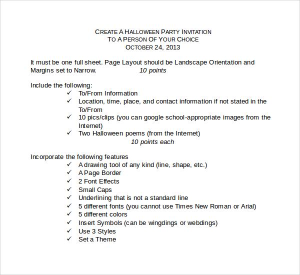 halloween invitation template doc