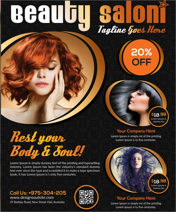 beautiful beauty salon flyer template