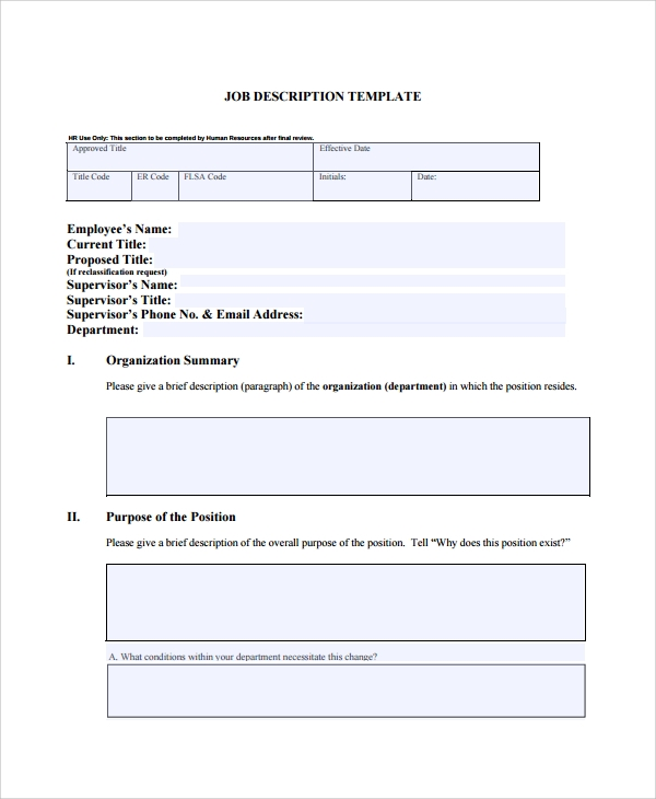 Sample job description template 32 free documents for Creating job descriptions template