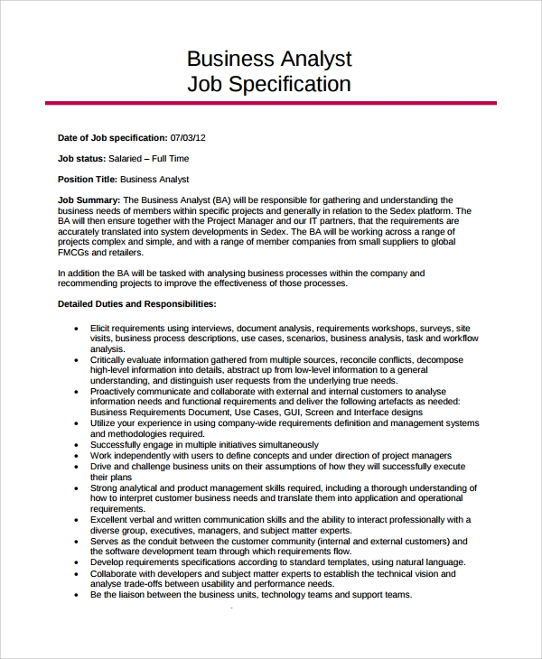 Sample Job Description Template - 22+ Free Documents Download In