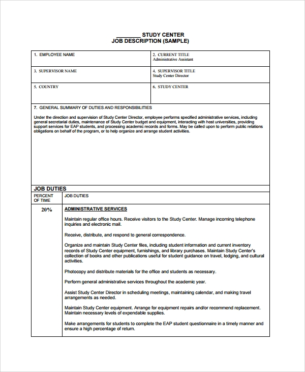 Sample Job Description Template 22 Free Documents Download in – Job Duty Template