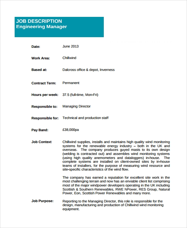 engineering manager job description template