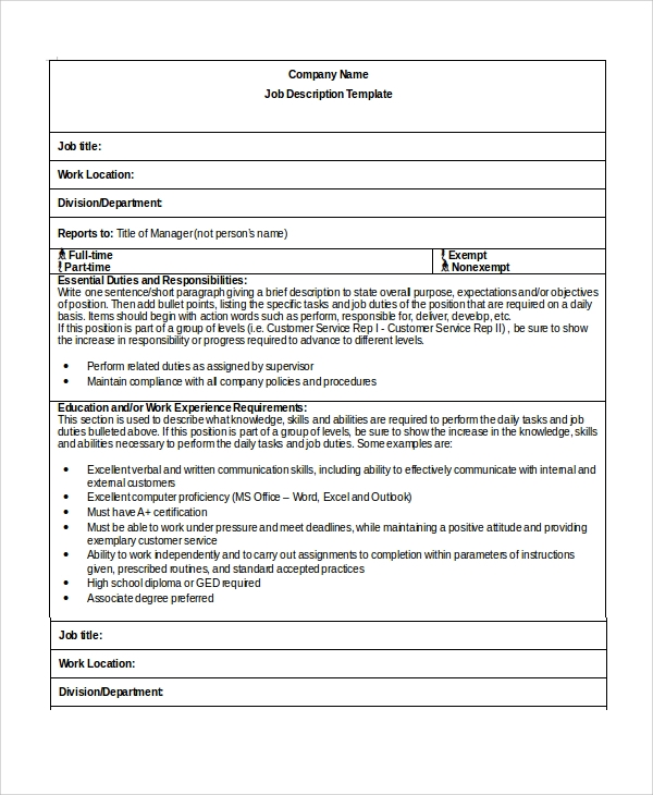 33 job description templates sample templates for Free job description template