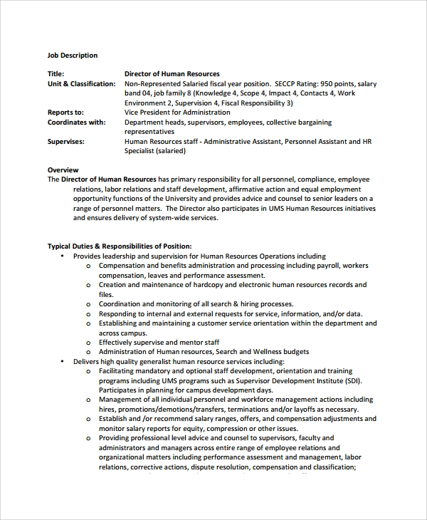 hr job description template