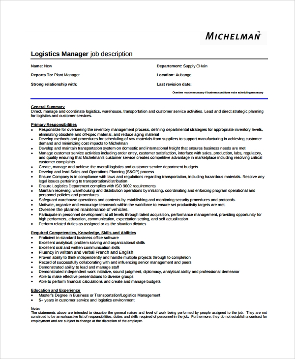 logistics job description template