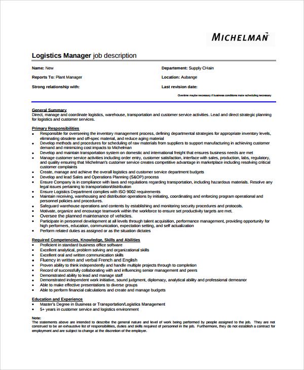 job descriptions template word