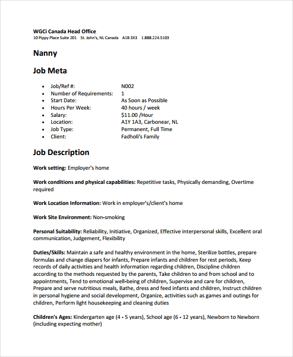 nanny job description template