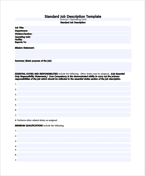 standard job description template