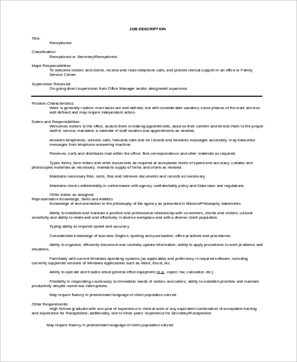 sample job description template1