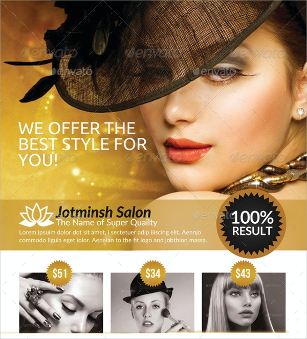 a4 beauty salon flyer template