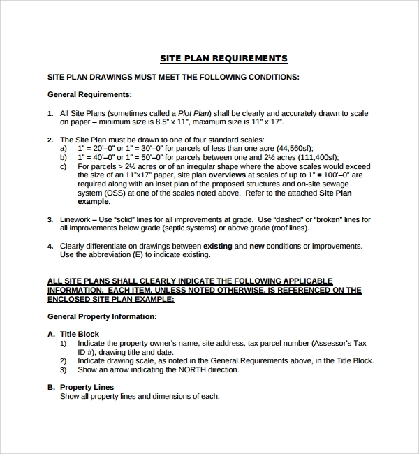 site plan requirement template pdf