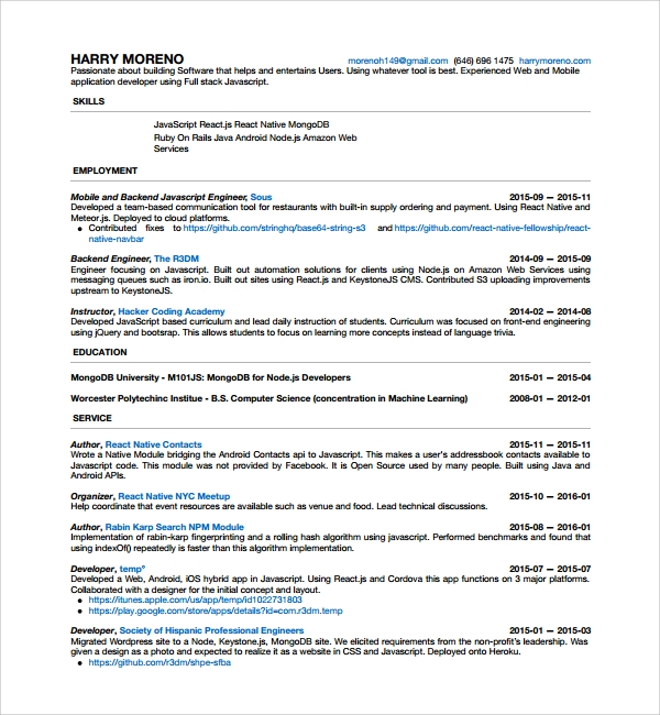 Sample Android Developer Resume   Free Documents In Pdf