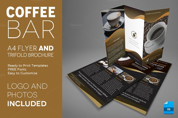 coffee a4 trifold brochure
