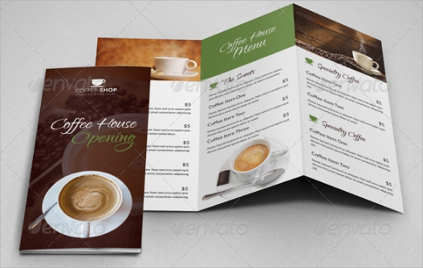 coffee shop restaurant trifold brochure example
