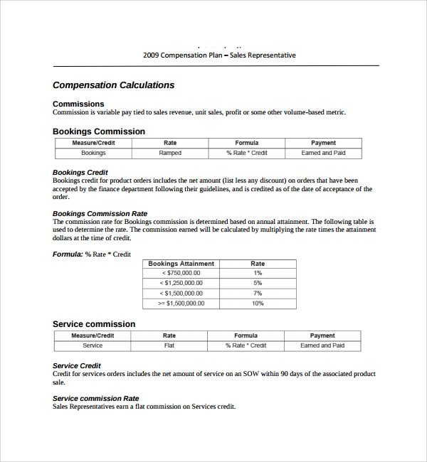 9 commission plan templates sample templates for Sales commision structure template