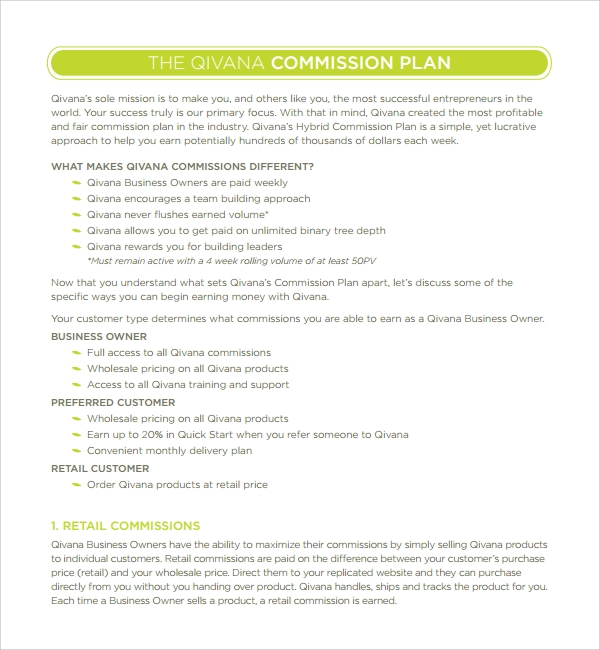 9  commission plan templates