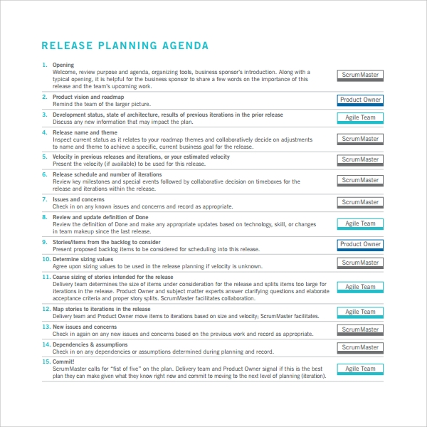 Sample Release Plan Template   Free Documents In Pdf