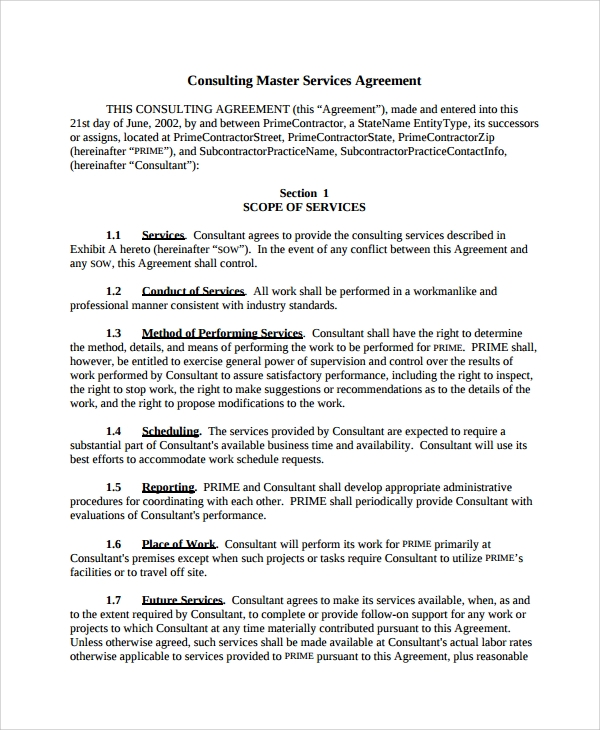 10 consulting service agreements sample templates for Consulting contracts templates