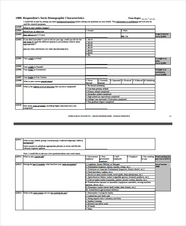 health assessment questionnaire template - 8 health survey templates sample templates