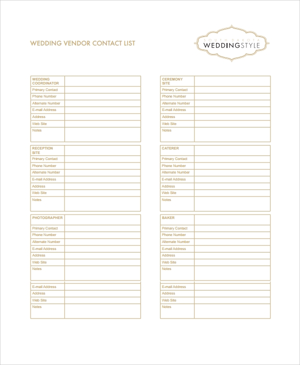 wedding vendor list template