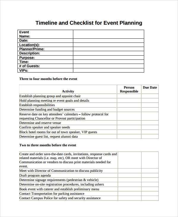 event planning vendor list template